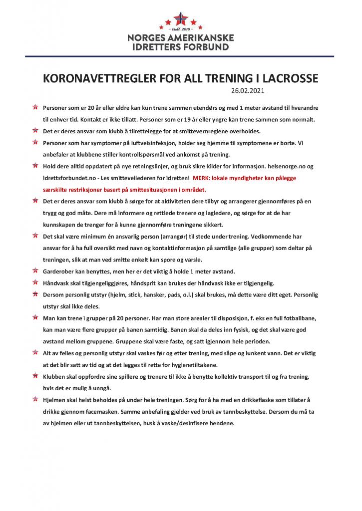 Koronavettregler for lacrosse